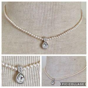SWAROVSKI Signed pearl crystal necklace